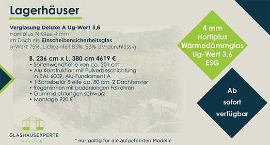 Gewächshaus 236 cm x 380 cm zum Sonderpreis von 4.619 €